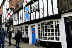 Bells' tea rooms, Lincoln. LINCOLN, LINCOLNSHIRE, UK. MAY 01, 2016.  Historic black and white building on Steep Hill at Lincoln in Lincolnshire, UK Royalty Free Stock Photo