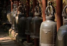 Bells in temple. Collection of the bells at Thailand temple stock photography