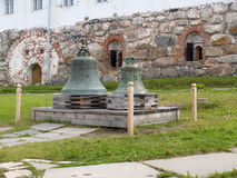 Bells in the territory of the Solovki monastery, Russia Stock Photos