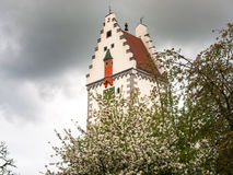 Bells tower. Bad Waldsee, Germany: Bells tower of the town near the lake in the park Royalty Free Stock Photos