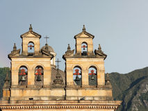 Bells in the tower of the cathedral in Bogota, Colombia. Royalty Free Stock Photography