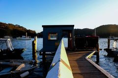 Bells wharf Scotland Island Pittwater Sydney Australia stock photos