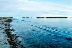 Bellsdownes Islands from Shallow Bay, Gros Morne, National Park, Newfoundland, Canada stock photography