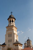 Belltower of the Archiepiscopal Churc in Alba Iulia. The Archiepiscopal Cathedral of Alba Iulia was built between 1921-1922 and is a symbol of the Great Union of royalty free stock photo