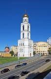 Belltower av Samara Iversky Monastery i den soliga dagen samara Royaltyfria Bilder