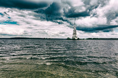 Belltower av Sten Nicholas Cathedral, Kalyazin, Ryssland Royaltyfri Bild