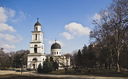 Belltower and cathedral, Chisinau, Moldova Royalty Free Stock Images