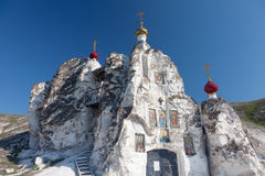 Belltower of a cave monastery. In Kostomarovo, Russia stock image