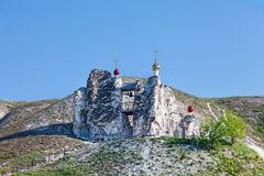 Belltower of a cave monastery in Kostomarovo Stock Image