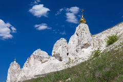 Belltower of a cave monastery in Kostomarovo Stock Photos