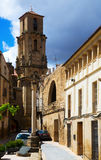 Belltower of Church of the Assumption in   Calaceite Stock Photography