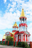 Belltower of church in Obolon district Royalty Free Stock Photography