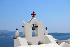 Belltower of a church in Oia, Santorini Royalty Free Stock Image