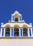 Belltower of Church. Belltower of a church in the principal city Fira, Santorini, Greece stock photography
