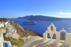 Cruise sailing from Santorini,Greece. Picture taken at Oia,Santorini,Greece-amazing,heavenly place.This azure blue sea and sky and the dazzling white houses were Stock Photo