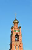 Belltower of eastern orthodox cathedral Stock Photos