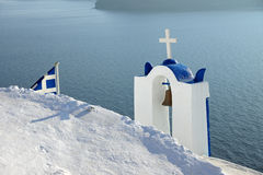Belltower and greek flag Stock Images
