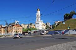Belltower of Iversky Monastery. Samara. Intersection of Vilonovskaya Street and Volzhsky Avenue in the clear afternoon. Belltower of Iversky Monastery. Samara Stock Photo