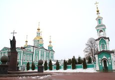 Belltower and Monument to Saint Pitirim. Bishop of Tambov. The Wonderworker. 1644-1697. A stroll through the Tambov. Russian Federation, 24 February, 2017 Stock Photos