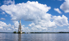 Belltower On River Volga, Kalyazin, Russia Royalty Free Stock Images
