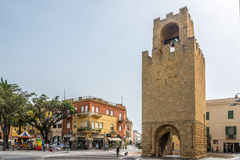 Belltower of Oristano at Mannu square in Sardinia. ORISTANO,ITALY - SEPTEMBER 20,2014 - Belltower of Oristano in Sardinia. Was built in 1290, is 19 metres tall royalty free stock photo