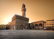 Belltower on piazza Royalty Free Stock Image