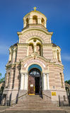 Belltower of russian orthodox cathedral of the Nativity of Chris Stock Photo