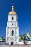 Belltower of Saint Sophia Cathedral in Kiev. View on bell tower and Saint Sophia Cathedral through Sophia square in Kiev, Ukraine stock photos