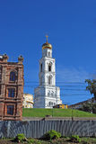 Belltower of the Samara Iversky Monastery with gateway church for the sake of the prelate Nicholas The Wonderworker in the sunny d. Belltower of the Samara Stock Image