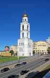 Belltower of the Samara Iversky Monastery in the sunny day. Samara. Belltower of the Samara Iversky Monastery with the gateway temple for the sake of the prelate Royalty Free Stock Images