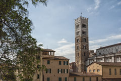 Belltower of San Martino Cathedral in Lucca, Tuscany. Italy Stock Images