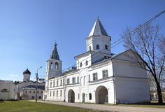 Belltower of St. Nicholas Cathedral and The Gate Tower of the Trading Mart. Royalty Free Stock Images
