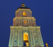 Belltower of St. Sophia Cathedral in Kiev. The bell tower of the St. Sophia Cathedral in Kiev against the sky at night royalty free stock image