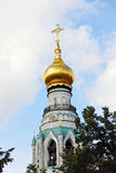 Belltower of St. Sophia Cathedral in Vologda,Russia. VOLOGDA,RUSSIA-SEPTEMBER 20, 2015.Belltower of St. Sophia Cathedral in Vologda,Russia.Has height of 78,5 Royalty Free Stock Photos
