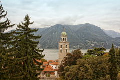 Belltower in swiss city. Beautiful landscape with the belltower  in swiss city. In the foreground there are trees, in the middle is bell tower, on the Stock Photos