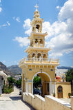 Belltower of traditional Greek church at Paleochora town on Crete island Stock Images
