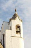 Belltower of the Trullo church in Alberobello, Italy Royalty Free Stock Photo