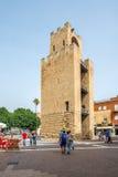Belltower van Oristano bij Mannu-vierkant in Sardinige Stock Afbeelding