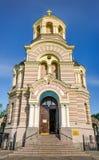 Belltower van Russische orthodoxe kathedraal van de Geboorte van Christus van Chris Stock Foto