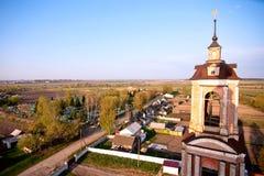 Belltower and village. View on village from belltower of Voskresensky monastery, Bryansk region, Russia stock image