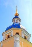 Belltower of Vydubychi Monastery in the spring, Kyiv Stock Photo