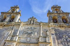 Belltowers of the Basilica and Royal Collegiate Church of Santa Maria. Ubeda, Andalusia, Spain - March 2018: View of the towers of the bells of the Basilica and stock photo