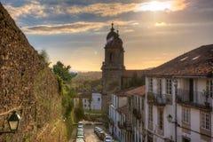 Belltowers do monastério de St Francis, Santiago fotografia de stock