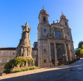 Belltowers of the Monastery of St. Francis, Santiago. Monastery of St. Francis and a monument to its founder St. Francis of Assisi, Santiago de Compostela stock image