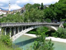 Belluno Unusual Bridge Italy Stock Photography