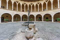 Bellver城堡内部,马略卡 免版税库存照片