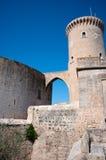 Bellver城堡塔在马略卡,西班牙 库存照片