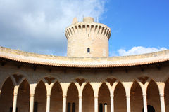 Bellver castle. Arch windows architecture in Mallorca Royalty Free Stock Photo