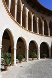 Bellver castle. Interior arch windows architecture in Mallorca Stock Photos