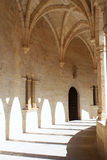 Bellver castle. Interior arch windows architecture in Mallorca Royalty Free Stock Photo